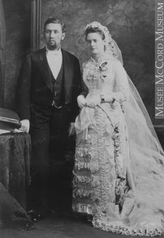 Dr. Cameron and his bride, in her wedding dress, Montreal, QC, 1880