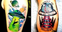 Believer or not you'll enjoy these Alien Abduction tattoos.