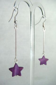 Purple Mother of Pearl Star Drop Earrings - £5.50 at http://jewellerybyrebecca.co.uk/mpe004