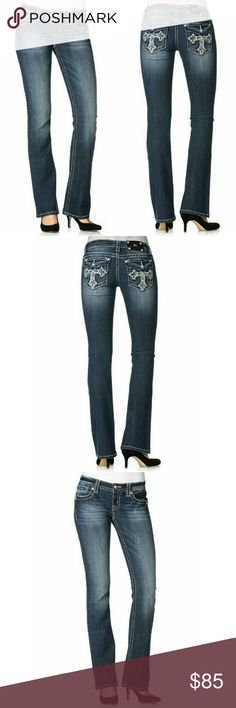 New! Miss Me Cross Pocket Bootcut Blue Jeans NWT Make an impression in Miss Me'sbootcut?jeans. Flap back pockets with embroidery and rhinestones add extra oomph!  Color: Medium Blue  Classic 5-pocket styling; flap back pockets with embroidery and rhinestones  White topstitching throughout Rhinestones at rivets Dark wash with fading andwhiskering?at front and back Low rise: waistband sits at hips Skinny fit through hips and thighs Bootcut?leg. Zipper fly with button closure; belt loops…