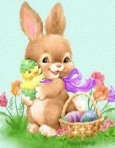 Baby bunny and chick at Easter by Penny Parker. Easter Art, Hoppy Easter, Easter Crafts, Easter Chick, Penny Parker, Bonnie Parker, Ostern Wallpaper, Easter Illustration, Easter Wishes