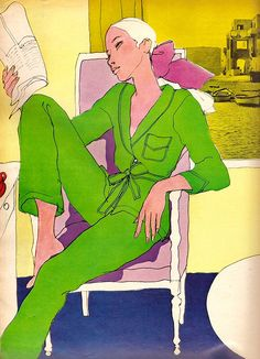 Elle May 67 color lingerie spread  Illustrator: Antonio Lopez