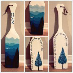 I like the mountain side of this paddle, not the tree side :) Phi Sigma Pi, Alpha Phi Omega, Delta Phi Epsilon, Kappa Alpha Theta, Alpha Chi, Phi Mu, Fraternity Paddles, Sorority Paddles, Sorority Crafts