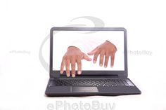 Hands are coming out from laptop screen and typing