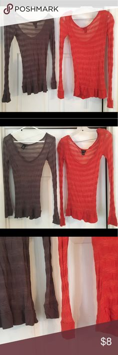 🌟 Bundle of two Rue 21 Small Long Sleeve Shirts 💫 Rue 21 Brand - Size Small - Long Sleeve Shirts 💫  One is a Burnt Orange Color One is a Dark Gray Color  Both are a light material and look great with any color camisole or under shirt! Both are in excellent used condition!  🌟Freebies with every purchase from my closet!!🌟 Rue 21 Tops Tees - Long Sleeve