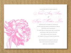 Custom Wedding Invitation, Pink Peony - Printable. $15.00, via Etsy.