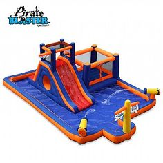 Pirate Blaster Inflatable Play Park by Blast Zone Cool Pool Floats, Inflatable Water Park, Bouncy House, Water Party, My Pool, Dream Pools, Pool Toys, Floating In Water, Park Homes