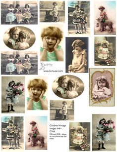 collage sheets vintage photos children #2