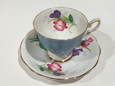 Feria estándar real de Lady Tea Cup y Saucer, taza de té Floral azul, tazas de…