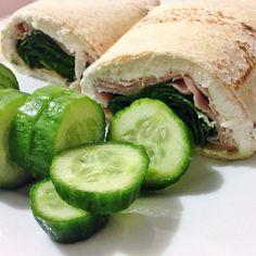 Via: @nettienererdyfit | Ham, cottage cheese spinach Mountain Bread wrap | Healthy Recipe