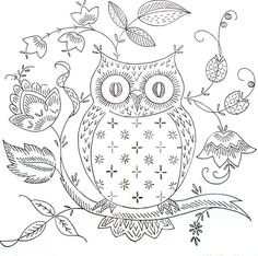 Paper Embroidery Today's freebie is for all owl fans who love to stitch. I found this owl embroidery by who stitched this for her sister-in-law. Owl Embroidery, Embroidery Patterns Free, Cross Stitch Embroidery, Embroidery Designs, Machine Embroidery, Medieval Embroidery, Eyebrow Embroidery, Embroidery Tattoo, Stitching Patterns