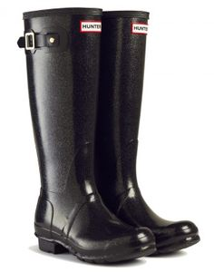 Hunter Original Tall Glitter Finish Wellington Boots - Black ... These will be mine, mark my words