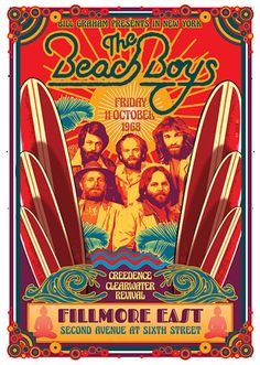 This poster announced the debut performance of The Beach Boys at the Fillmore East on 11 October The opening group was Creedence Clearwater. Rock Posters, Band Posters, Movie Posters, Vintage Concert Posters, Vintage Posters, Poster Wall, Poster Prints, Art Prints, Fillmore East