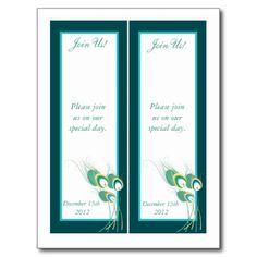 2 Modern Teal Peacock Save the Date Bookmarks Postcards