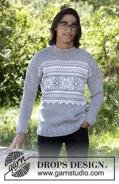 Maglione ai ferri con motivo jacquard nordico, per uomo. Taglie: Dalla S alla XXXL. Il maglione è lavorato in DROPS Alaska.