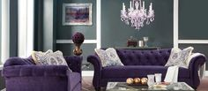 Perhaps the most versatile of colors, portraying mystery to luxury - it is the color of royalty, after all - purple makes a powerful impression. A top performer in piquing visual interest, this proud color offers plenty of decorative possibilities. Top a posh, plush sofa in the purest shade of purple with printed pillows in plum. Then dim the grape chandelier to enjoy your own version of purple's premiere.