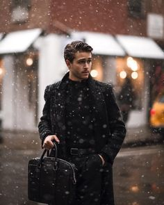 "57.1k Likes, 404 Comments - A d a m G a l l a g h e r (@iamgalla) on Instagram: ""Caught in the first snow of the season...bundled in @hugoboss holiday threads ❄️ of course...all…"""