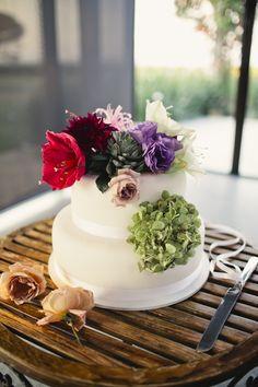 Mulitcoloured wedding cake Eileen + Ben ~ Wedding » Image by Love Katie + Sarah