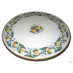 Tavolo in pietra lavica ceramizzata decoro fascia limoni