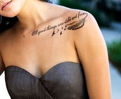 Clavicle tattoo Tattoos for women and Tattoos and body art on . Clavicle Tattoo, Tattoo Motive, Piercing Tattoo, Piercings, Collarbone Quote Tattoos, Tattoo Muster, Feather Tattoos, Body Art Tattoos, Small Tattoos