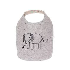 An organic elephant bib for your  little ones messes and misses.    Listing: 1 organic elephant bib.    Fabric: Front layer is a grey recycled