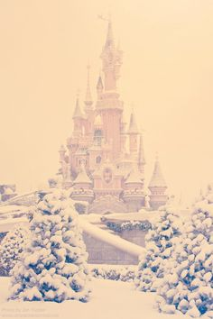 Beautiful Cinderella Castle covered in snow. Very picturesque