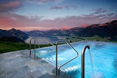 The most beautiful pool in the world is at Hotel villa Honegg, with fabulous views onto a breathtaking scenery across Lake Lucerne, Switzerland.