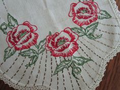Red Poppies Linen Dresser Scarf  Hand Embroidered  Crocheted