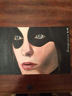 Masked woman - acriico su cartone