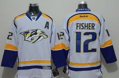 """$34.88 at """"MaryJersey""""(maryjerseyelway@gmail.com) Predators 12 Mike Fisher White Road Stitched NHL Jersey"""