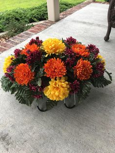 Cemetery FlowersMemorial FlowersHeadstone FlowersGraveside - I am Gina Artificial Flower Arrangements, Artificial Flowers, Floral Arrangements, How To Clean Headstones, Fresh Flowers, Silk Flowers, Graveside Decorations, Cemetery Decorations, Cemetery Headstones