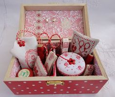 hand embroidered collection in sewing box