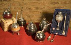 mates de calabaza y plata, jerbera y azucarera de calabaza y plata y juego de mate y bombilla de plata
