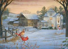 Cobble Hill's Countryside Cardinals jigsaw puzzle, with art by Sam Timm. Church Pictures, Winter Pictures, Christmas Pictures, Christmas Scenes, Christmas Art, Christmas Things, Vintage Christmas, Christmas Wonderland, Thomas Kinkade