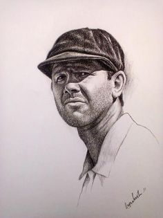 charcoal portraits of ricky ponting - Sketching by Omprakash Khirodkar in charcoal drawings at touchtalent 70542