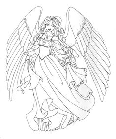 154 Best Angels to Color images | Angel drawing, Fantasy drawings ...
