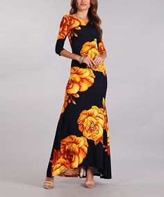Another great find on #zulily! Black & Yellow Floral Scoop-Back Maxi Dress - Plus Too #zulilyfinds