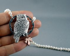 Owl necklace. Pearl necklace. Sterling silver by nataliasjewellery
