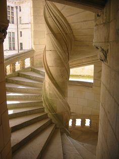 Chateau Chambord, Loire Valley, France c. 1515- Courtyard staircase- #JetsetterCurator