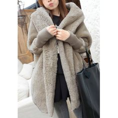 $18.56 Casual Hooded Neck Solid Color Batwing Sleeves Loose-Fitting Cashmere Coat For Women