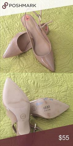 Michael Kors Kitten Heels Patent leather beige kitten heels.  Never used too small.  Very cute. Michael Kors Shoes Heels