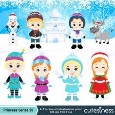 Winter Digital Clipart, Frozen Christmas clipart, Princess CLipart