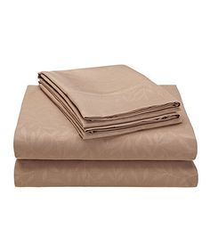 Look what I found on #zulily! Champagne Embossed Leaf Oxford Sheet Set #zulilyfinds