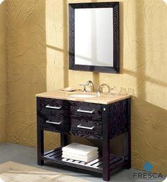 Fresca Hamilton Transitional Single Sink Bathroom Vanity w/ Travertine Countertop