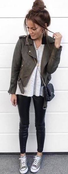#spring #outfits woman wearing black leather jacket. Pic by @shoppsite