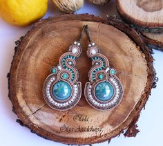 """Collection """"Captivated by Turquoise"""" Earrings """"Turquoise moss"""" """" Sewing embroidery, ceramics, Japanese beads, glass beads"""