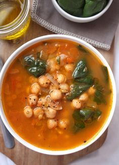 Moroccan Chickpea Soup: made with spicy cumin . I added chorizo for my carnivores and some zucchini that I had. The cinnamon makes it lovely!