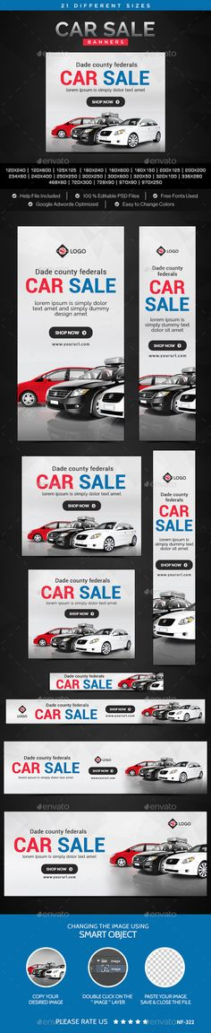 Car Sale Banners Bundle - 5 Sets - 93 Banners Sale banner - car for sale template