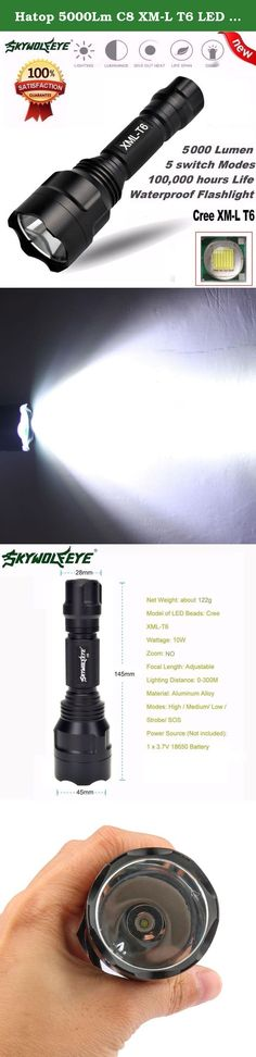 Hatop 5000Lm C8 XM-L T6 LED 18650 Flashlight 5 Mode Torch Tactical Light Lamp. Specifications: Brand: Sky Wolf Eye Light Color: White Number of Emitters: 1 Casing Color: Black Material: Aluminum Alloy Lumen: 5000 Lumens Power Supply: 1 x 18650 Batteries (Not Included) Modes: 5 Switch Type: Clicky Switch Location: Tailcap Strap/Clip: Strap Included Lens: Glass Dimensions: 145*45*28mm Weight:122g Package Includes: 1 x Flashlight.