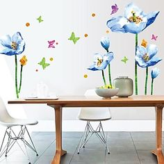 Blue Lily Flower Sticker Mural DIY Living Room Bedroom Sofa Background Wall Art Home Decoration Wall Decals Cheap Wall Stickers, Wall Decals, Wall Art, Bedroom Sofa, Living Room Bedroom, Pvc Wall, Blue Flowers, Diy, Home Decor